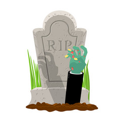 halloween grave and hand of zombie gravestone and vector image