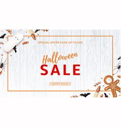 halloween sale web banner with treats vector image