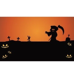 Halloween warlock in tomb silhouette vector image