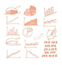 Hand drawn graphs vector