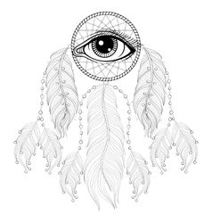 Hand drawn zentangle bohemian dreamcatcher with vector