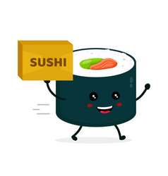 happy cute smiling funnu sushi roll vector image
