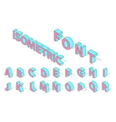 Isometric alphabet font isolated vector