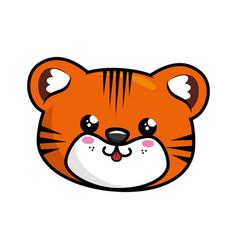 Kawaii tiger icon vector