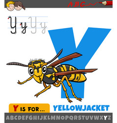Letter y from alphabet with cartoon yellowjacket vector