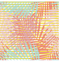 Living coral striped tropical palm leaves vector