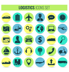 logistics icons set delivery and transportation vector image