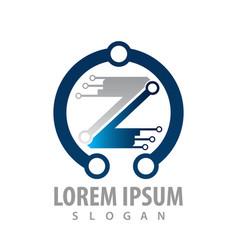 logo concept design digital technology letter z vector image
