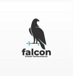 Logo falcon pose silhouette style vector