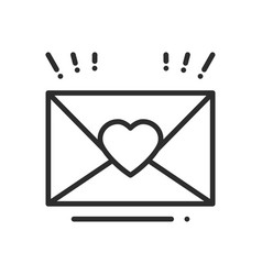 love letter envelope line icon happy valentine vector image