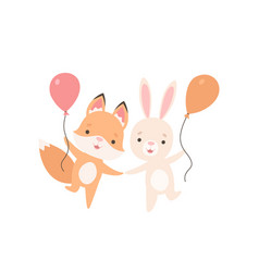 lovely white little bunny and fox cub with vector image