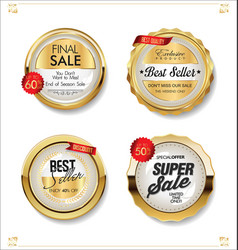 luxury premium sale golden badges and labels vector image