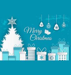 merry christmas postcard tree and presents vector image