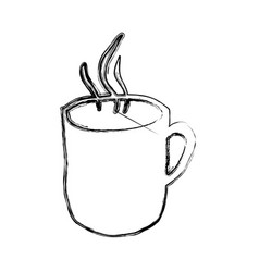 Monochrome sketch hand drawn with hot coffee mug vector