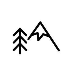 Mountain and christmas tree icon isolated vector