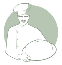 Moustached chef with a kitchen hat carrying a vector