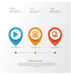 Multimedia icons set collection begin e vector
