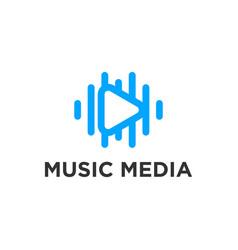 Music media logo play button simple minimalist vector