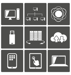 Network and Mobile Connections Icons vector image vector image
