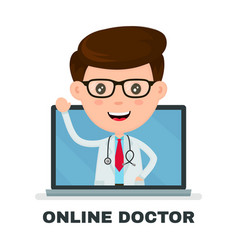 online doctor in yout computer service vector image