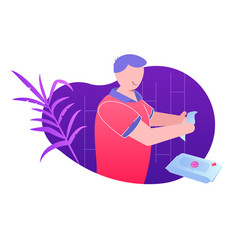 person cleaning hands with antibacterial wipes vector image
