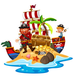 Pirate and ship at treasure island vector