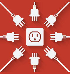 plugs around outlet on red background vector image