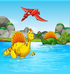prehistoric dinosaurs in a water scene vector image