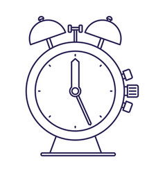 Purple line contour antique alarm clock vector