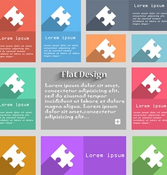 Puzzle piece icon sign Set of multicolored buttons vector