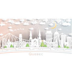 Quebec canada city skyline in paper cut style vector
