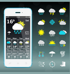 Realistic mobile phone with weather forecast vector