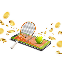 realistic phone gold coin betting gambling vector image