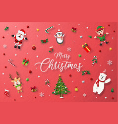 red background with christmas decoration vector image