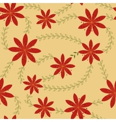 Red flowers with stamens pattern retro vector image