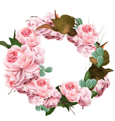 Rose flowers wreath template realistic 3d vector