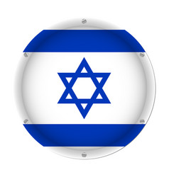 round metallic flag of israel with screws vector image