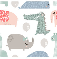 Seamless pattern with rhinoceros elephant vector