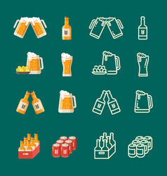 serving beer modern flat and line icons vector image