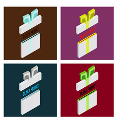 Set of black friday sale background gift icon vector