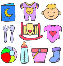 Set of element baby doodles vector
