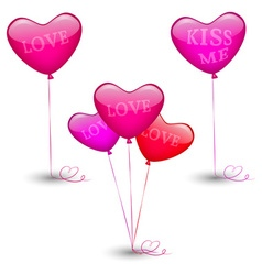 Set of festive balloons in the shape of heart vector image