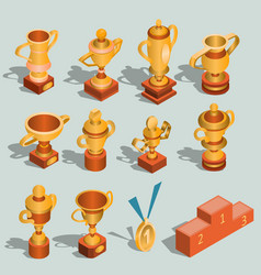 Set of isometric of gold vector
