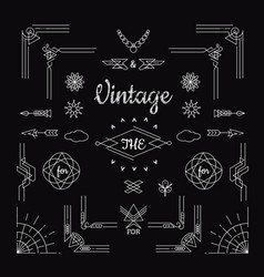 Set vintage geometric shape elements linear vector