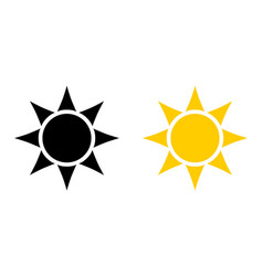 simple black and yellow sun icon circle with six vector image