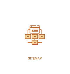 Sitemap concept 2 colored icon simple line vector