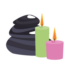 Spa candles with stones vector
