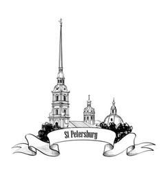 St petersburg city landmark russia cityscape sign vector