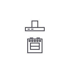 Stove with a vent line icon sign vector