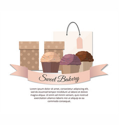 sweet cupcakes package and gift sweet bakery vector image